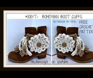 Crochet Bohemian Boot Cuffs, Free Pattern