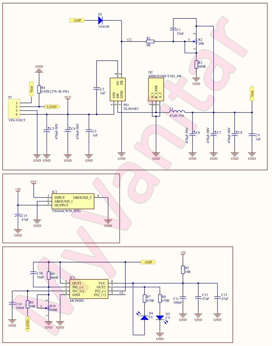 Figure 1  Schematic Diagram of the Adjustable Switching Power Supply