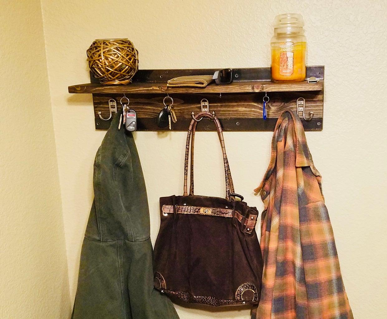 All-In-One Rustic Coat Rack, Floating Shelf Key Ring