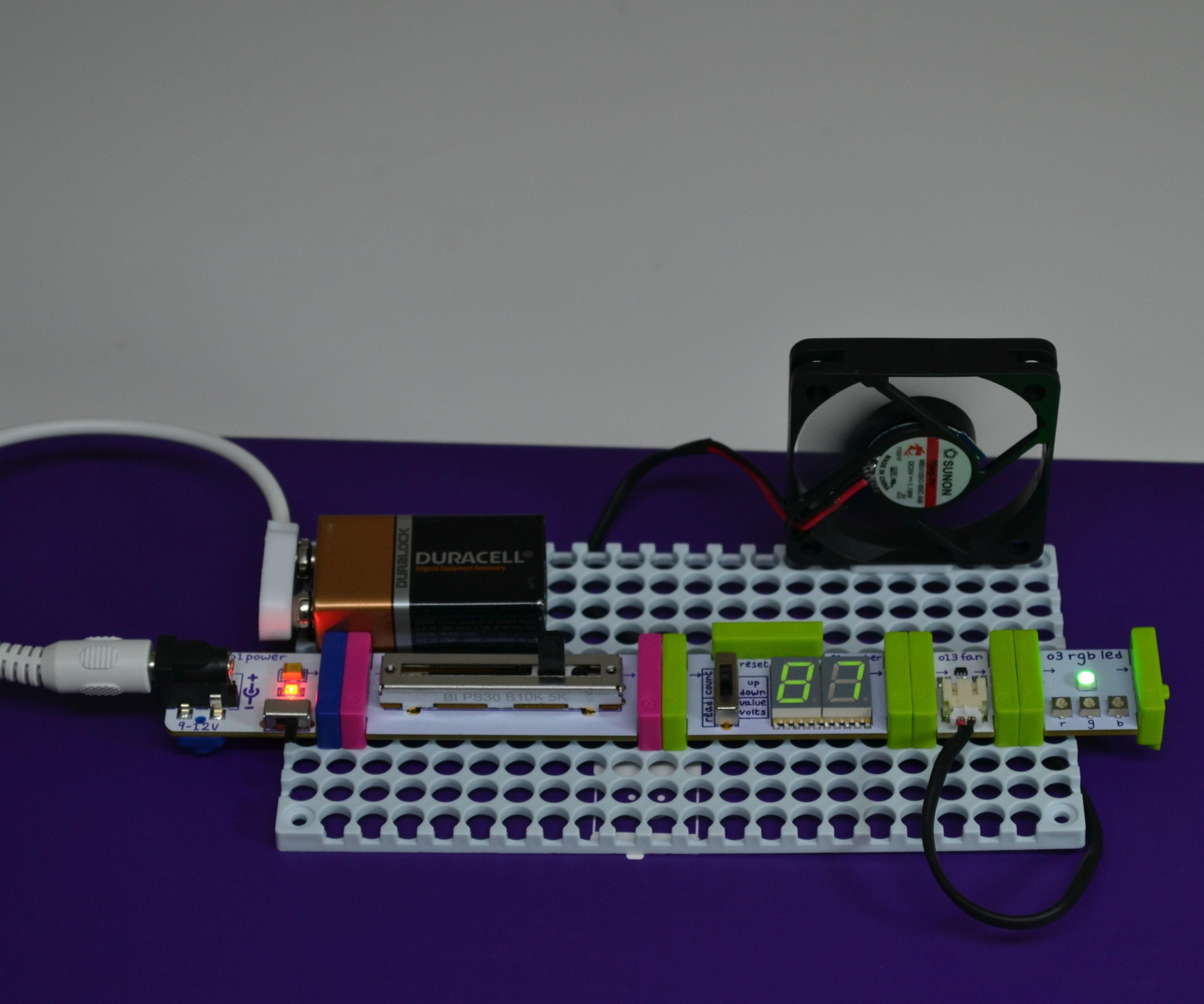 Como hacer un abanico con iluminación utilizando littlebits