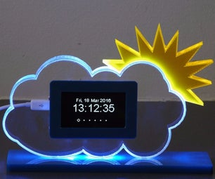 Acrylic Sheet RGB Glowing Weather Station With Indoor/outdoor/forecast Using ESP8266