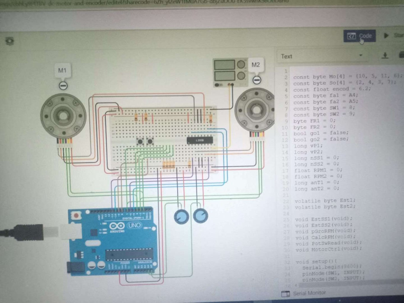 DC Motor and Encoder for Position and Speed Control