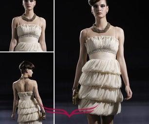 Coniefox Strapless Chiffon Tencel Stretch Satin Handwork Beaded Prom Dress Pagant Dress