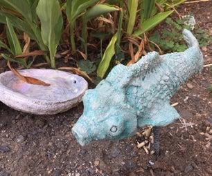 从塑料水瓶的混凝土庭院鱼