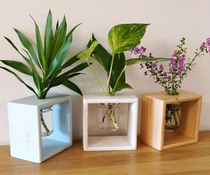 DIY Wooden Flowers Planter Box With Glass Jar | Hydroponics Vase Holder