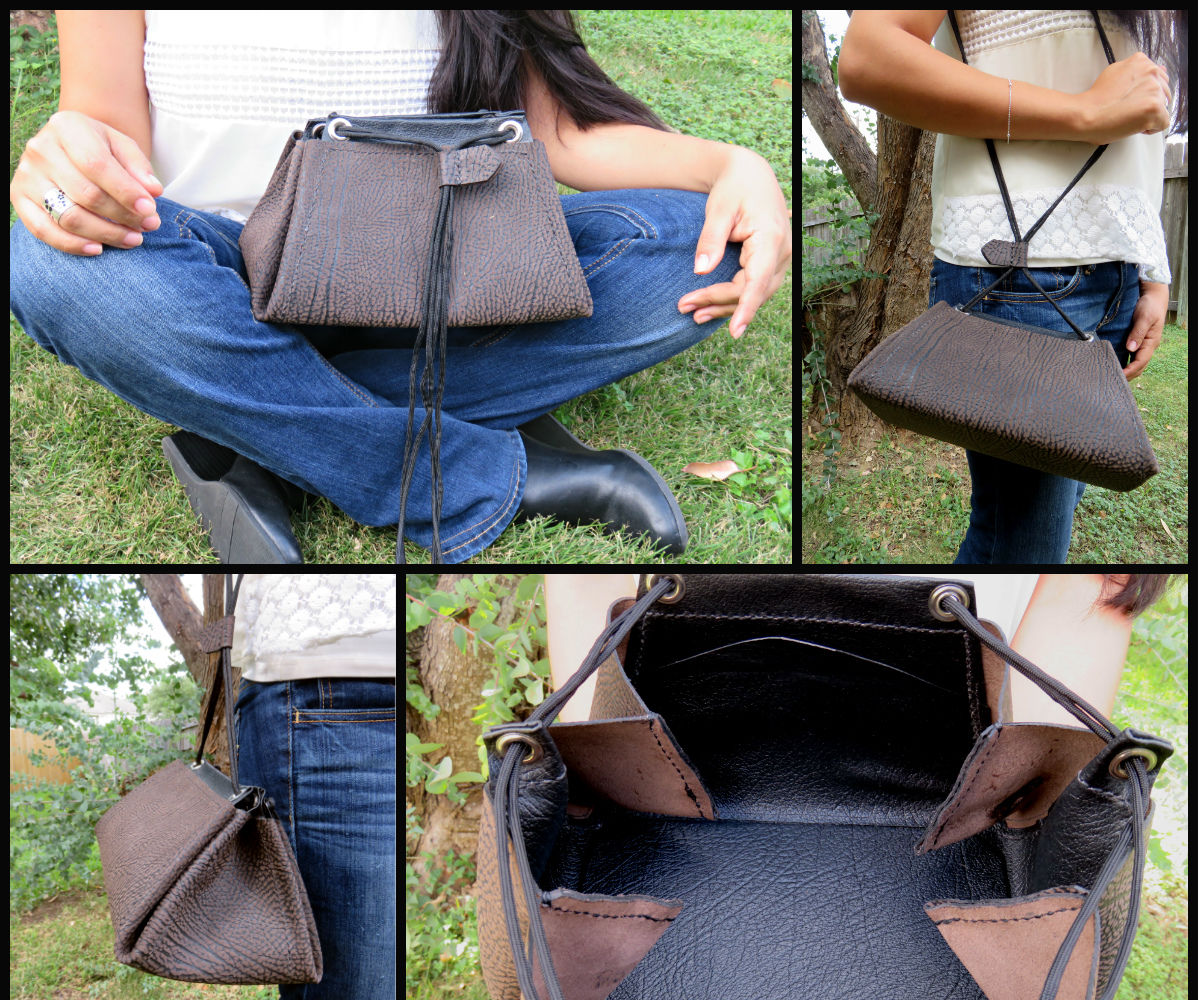 "Leather ""Traps"" Drawstring Purse"