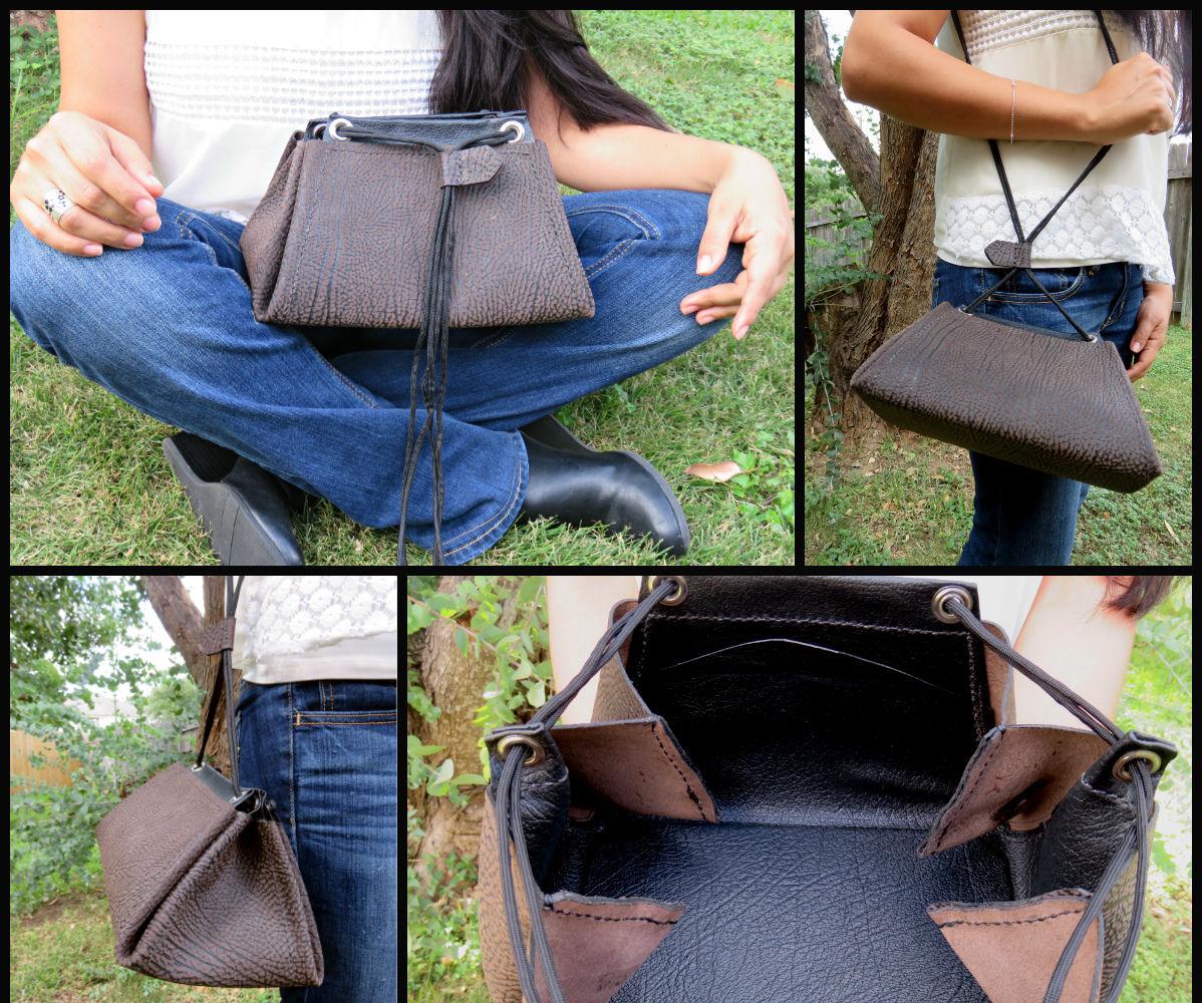 "Leather ""Traps"" Drawstring Purse"
