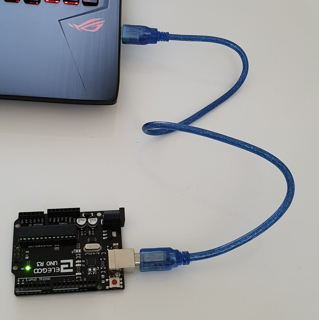 Connect the USB 2.0 Cable Type A/B From Your Arduino UNO Board to Your Computer