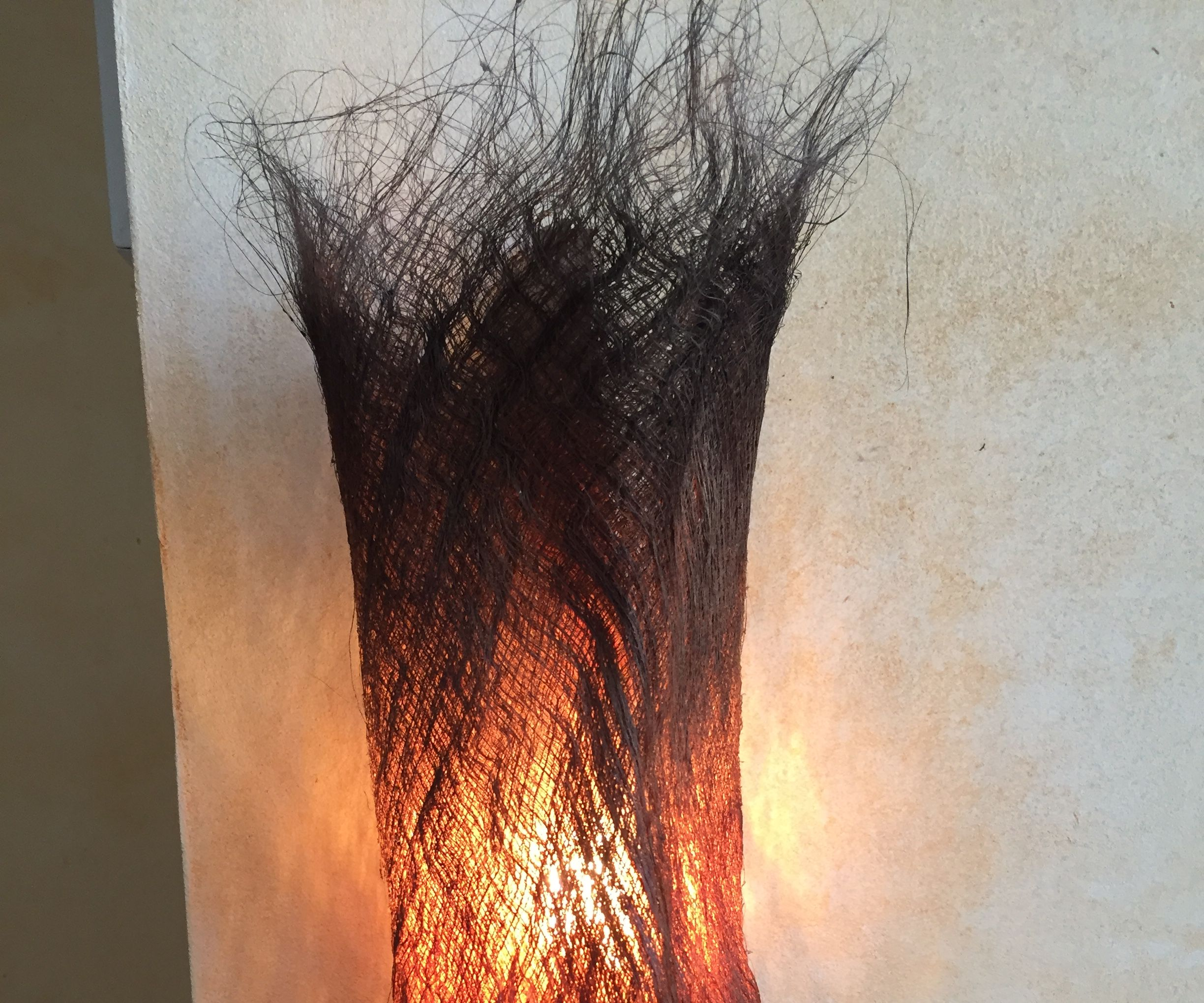 A Lamp Made With a Palm Tree Bark