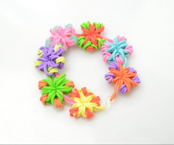 Super Easy DIY Rubber Band Jewelry- Making Candy Color Flower Loom Bracelets