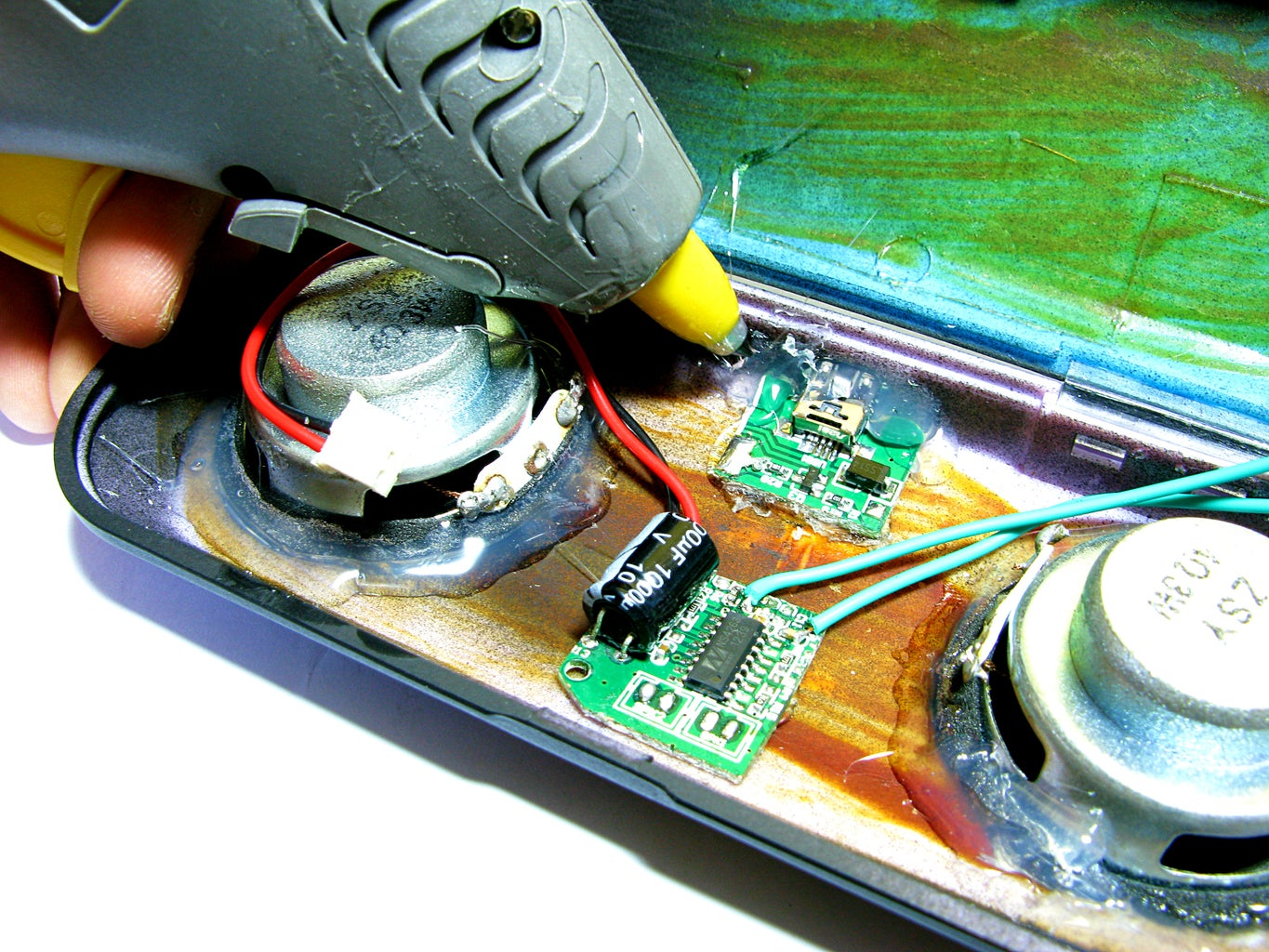 Hot Gluing the Speakers & Components