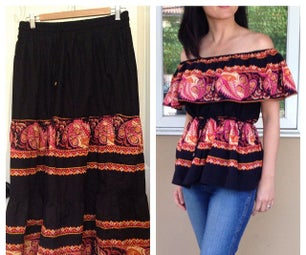 How to Upcycle a Skirt Into an Cold Shoulder Shirt