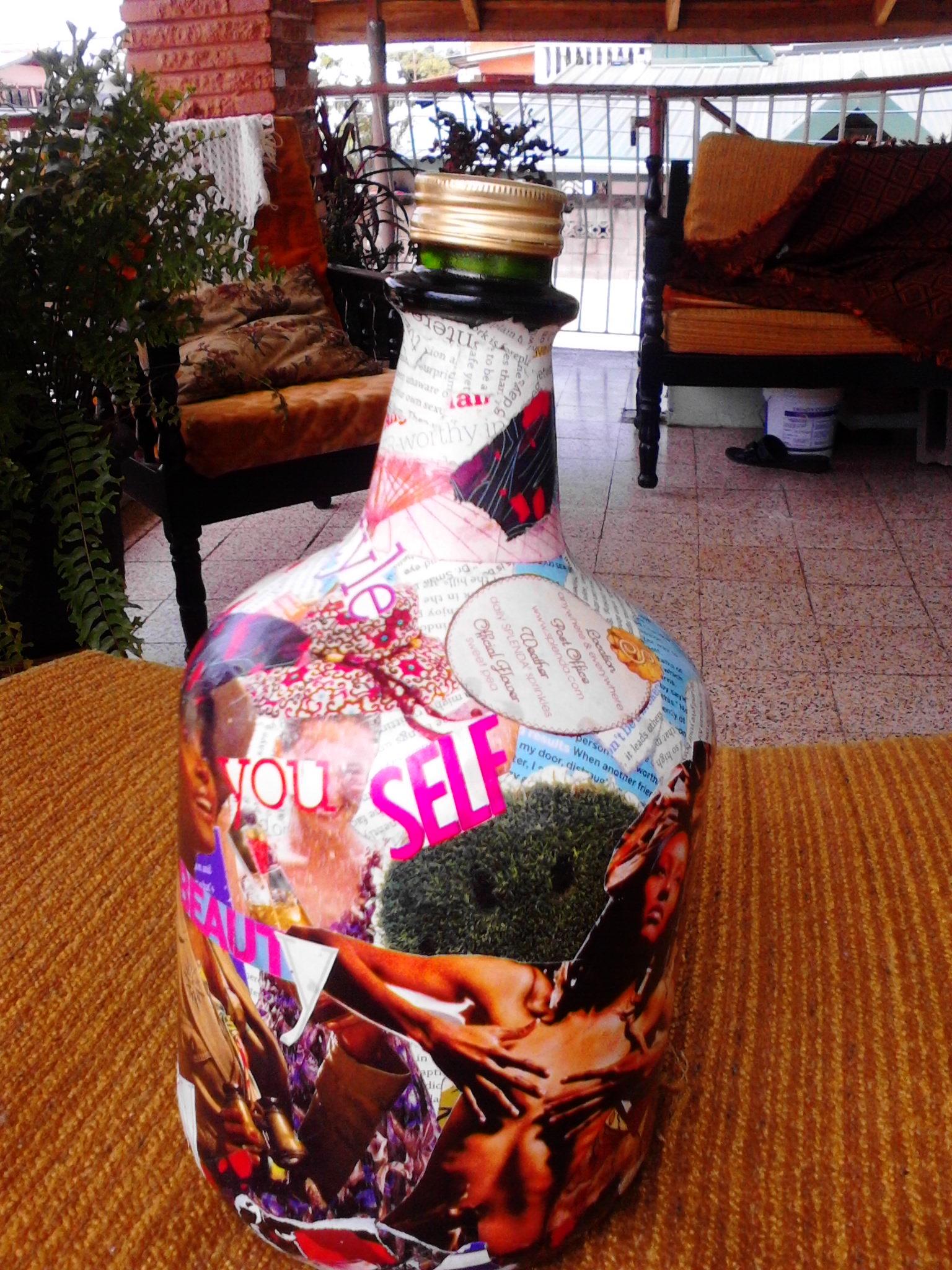 Decoupage a wine bottle