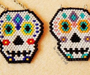Sugar Skull Beaded Brick Stitch Pendant ¦ the Corner of Craft