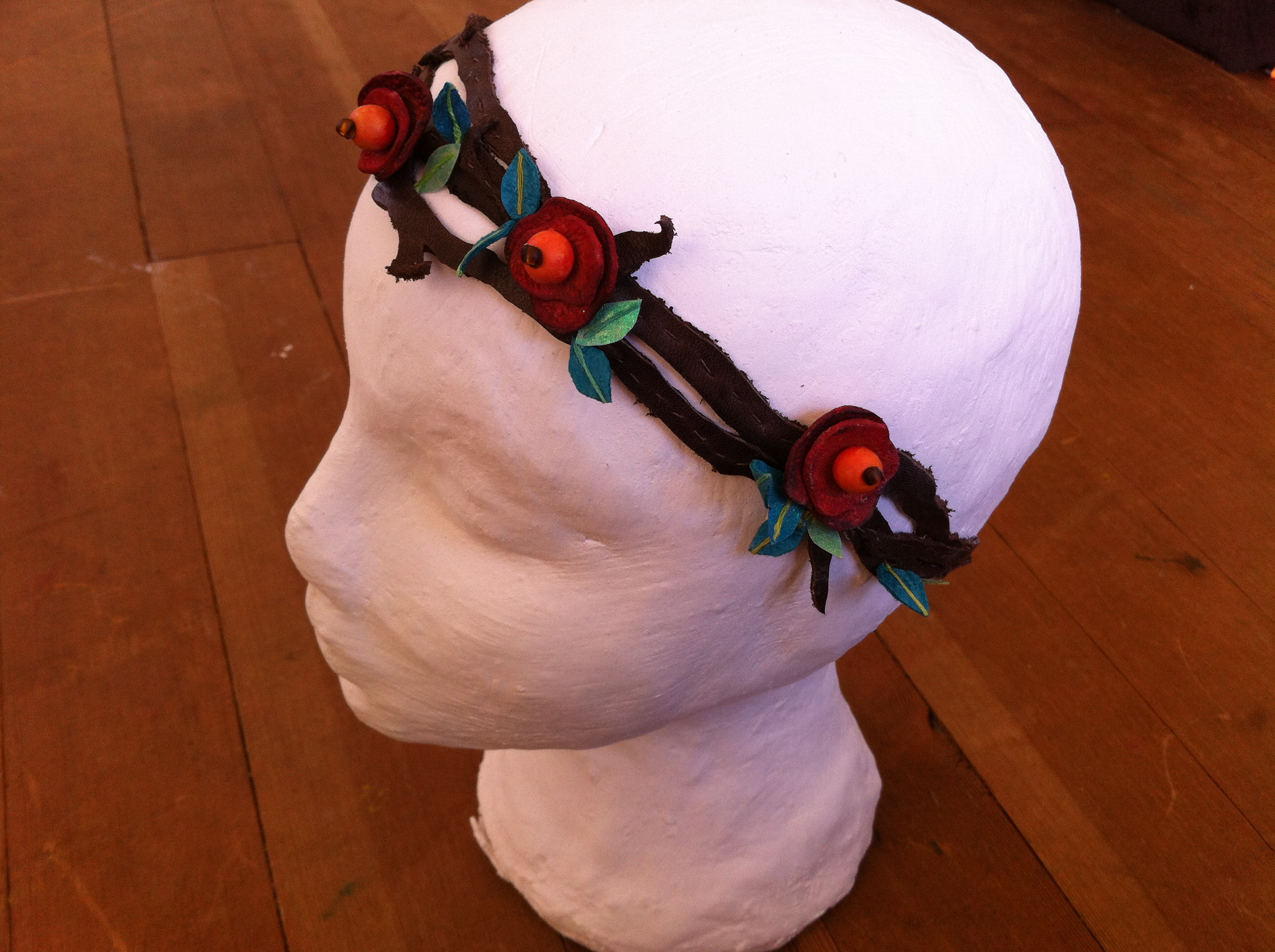 Flowers and Vines Headband from Scrap Leather