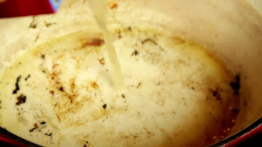 Deglaze Using Some Chicken Stock.
