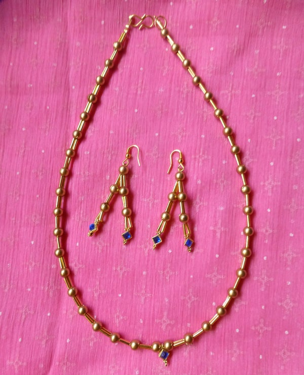 Gold Plated Beaded Necklace With Matching Earrings