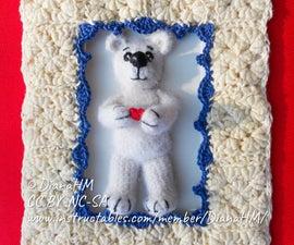 """3D Crochet Greeting Card """"Hearty Teddy Bear"""""""
