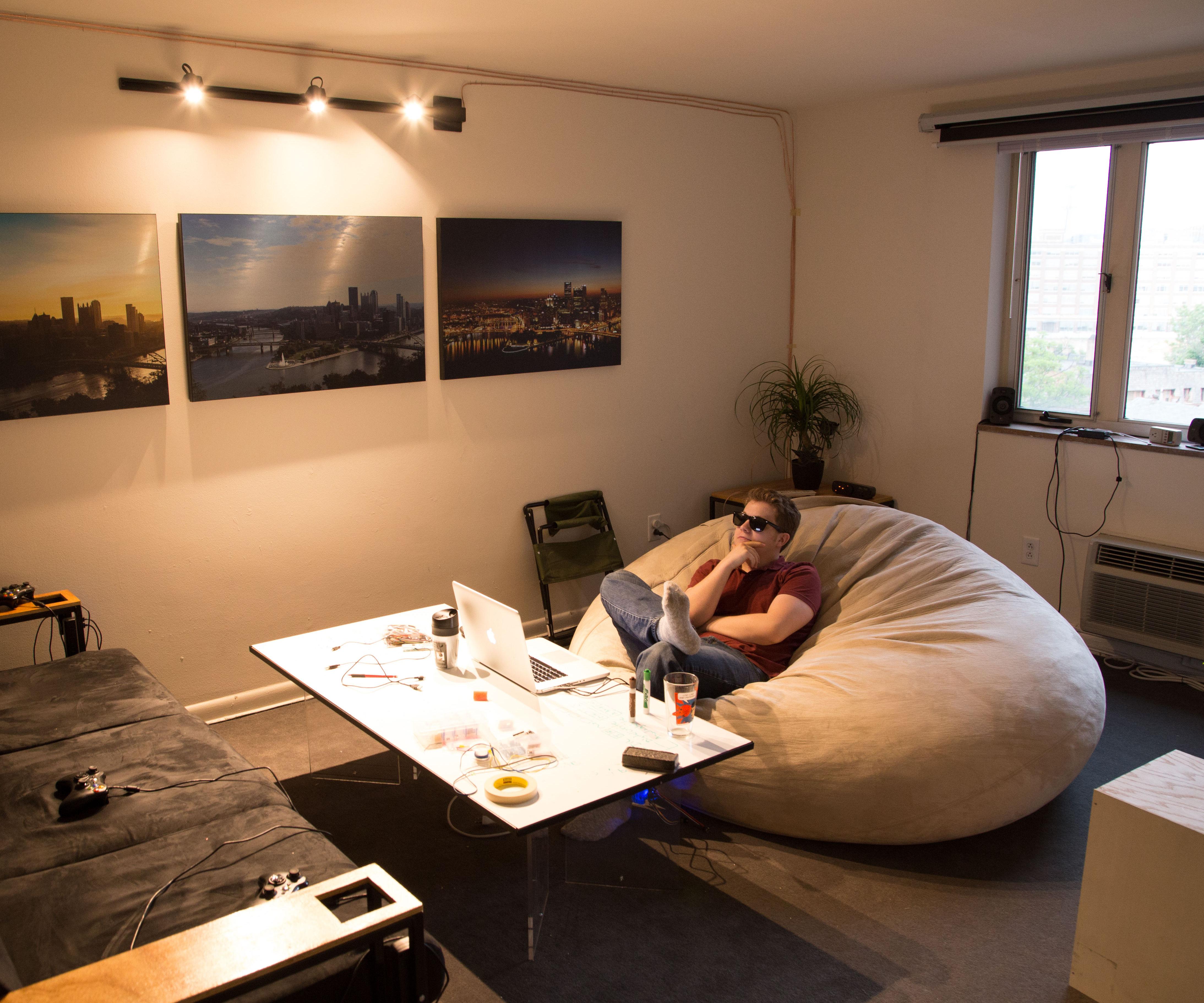 Levitating Acrylic & Whiteboard Coffee Table