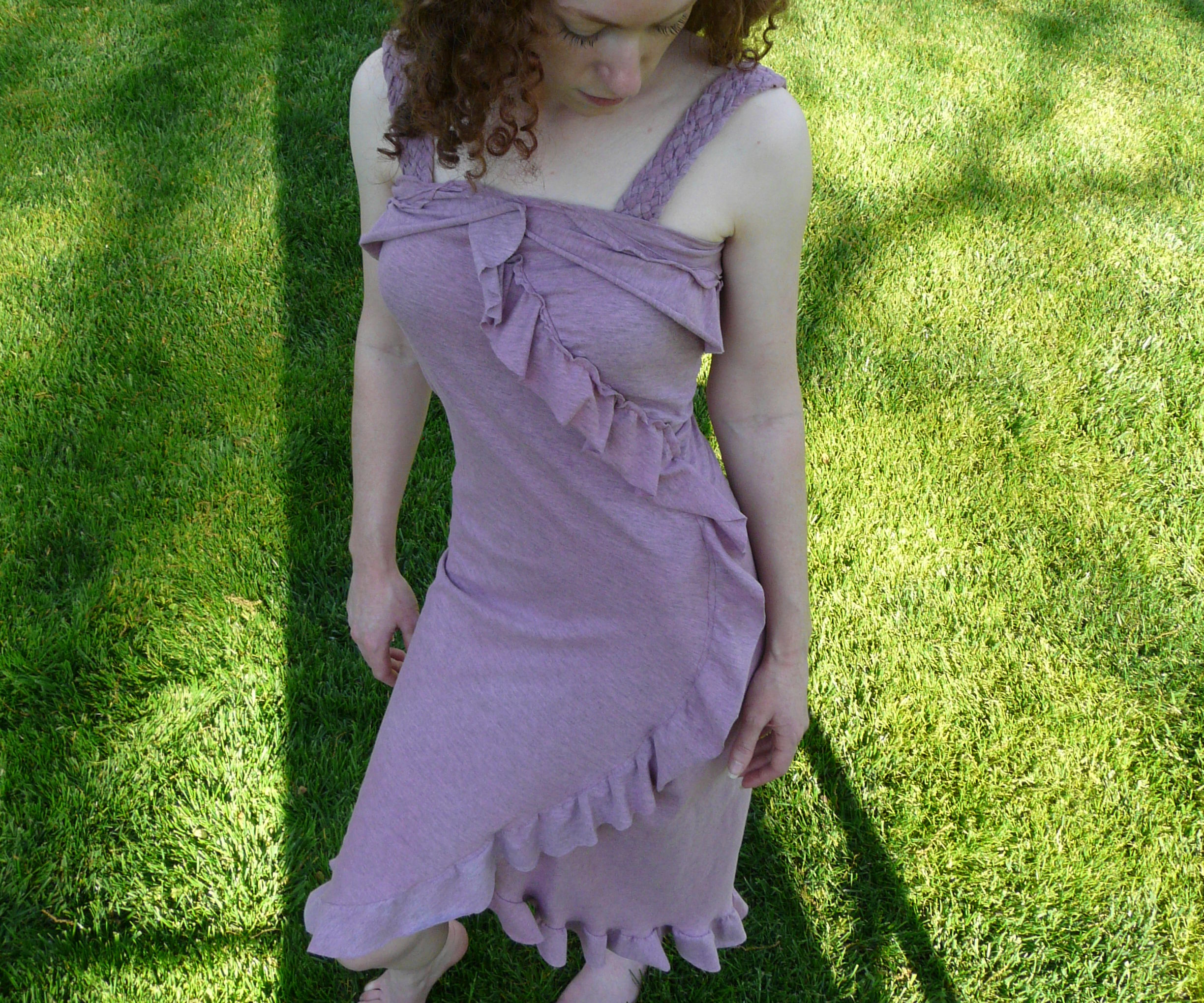 Summer sundress made from two circles of fabric