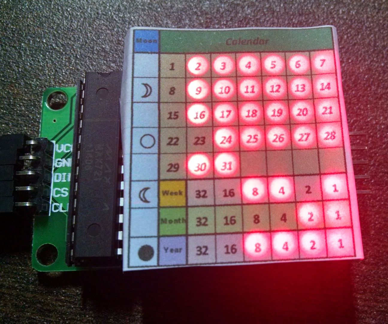 Amazing Binary Calendar and Clock including Moon Phase in a LED Matrix