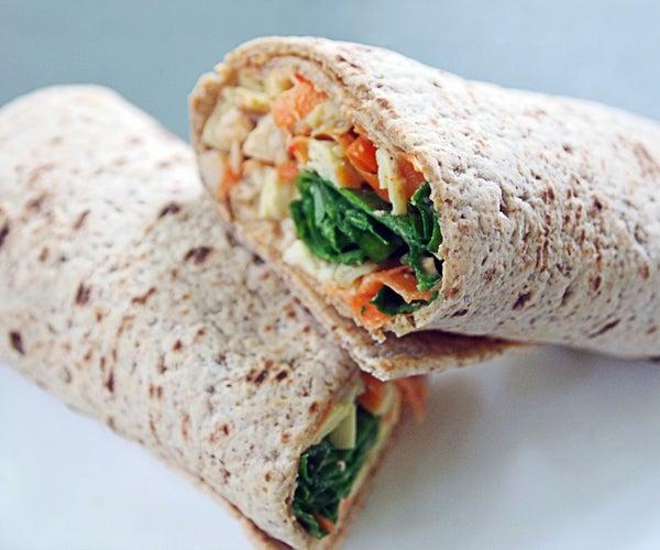 Healthy High-Protein Hummus Artichoke Wrap