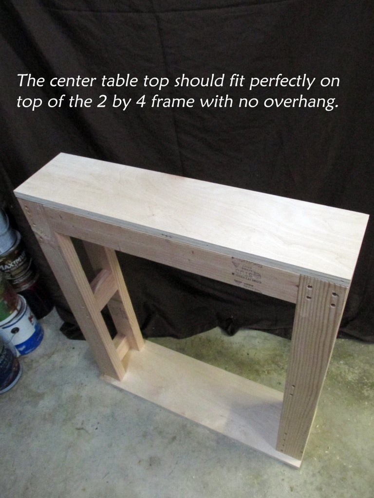 Attaching the Center Table Top to the 2 by 4 Frame