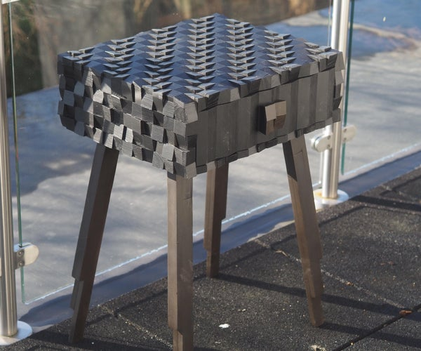 Wooden Geometric Mosaic Table From Old Set of Drawers