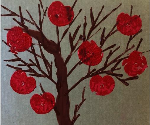CARDBOARD PRINTED APPLE TREE