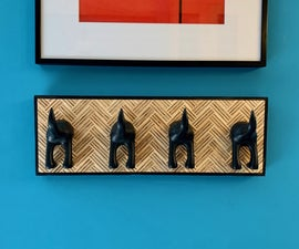 Dog Butt Leash Hanger With Herringbone Pattern!