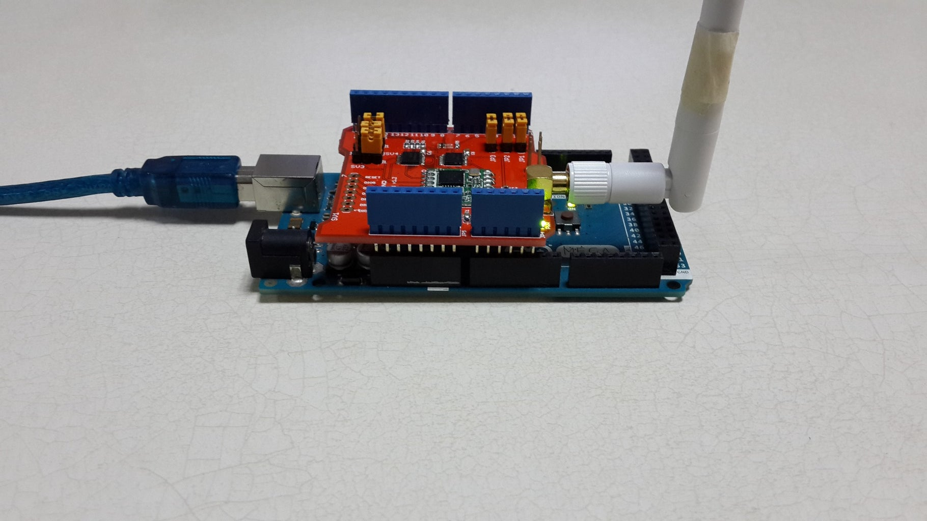 Connect the Lora Shield and MEGA 2560,upload the Sktech