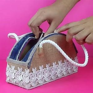 How to Make Hand Purse Using Cardboard, Denim and Jute Cloth?