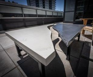 零木黑色和白色混凝土户外桌子