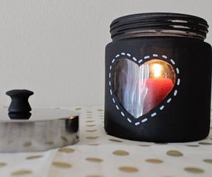 Peephole Heart Candle Jar