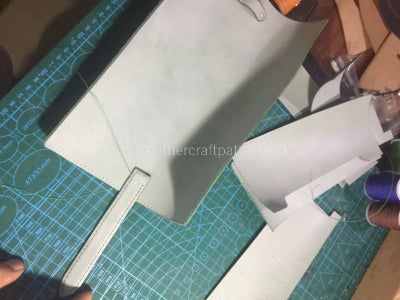 Sew the Left Stitching Holes With Surface Leather.