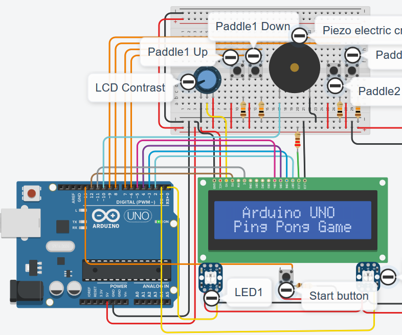 Autodesk Tinkercad Simulation of Arduino UNO Ping Pong Game V2.0