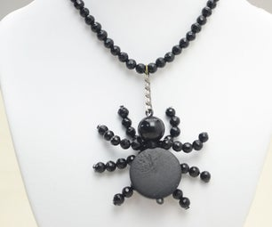 Simple Halloween Beaded Spider Necklace DIY