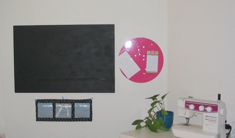 Chalkboard and Fabric Wall Organizer