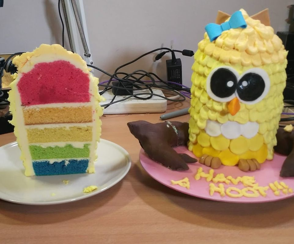 Surprise Yellow Owl Cake
