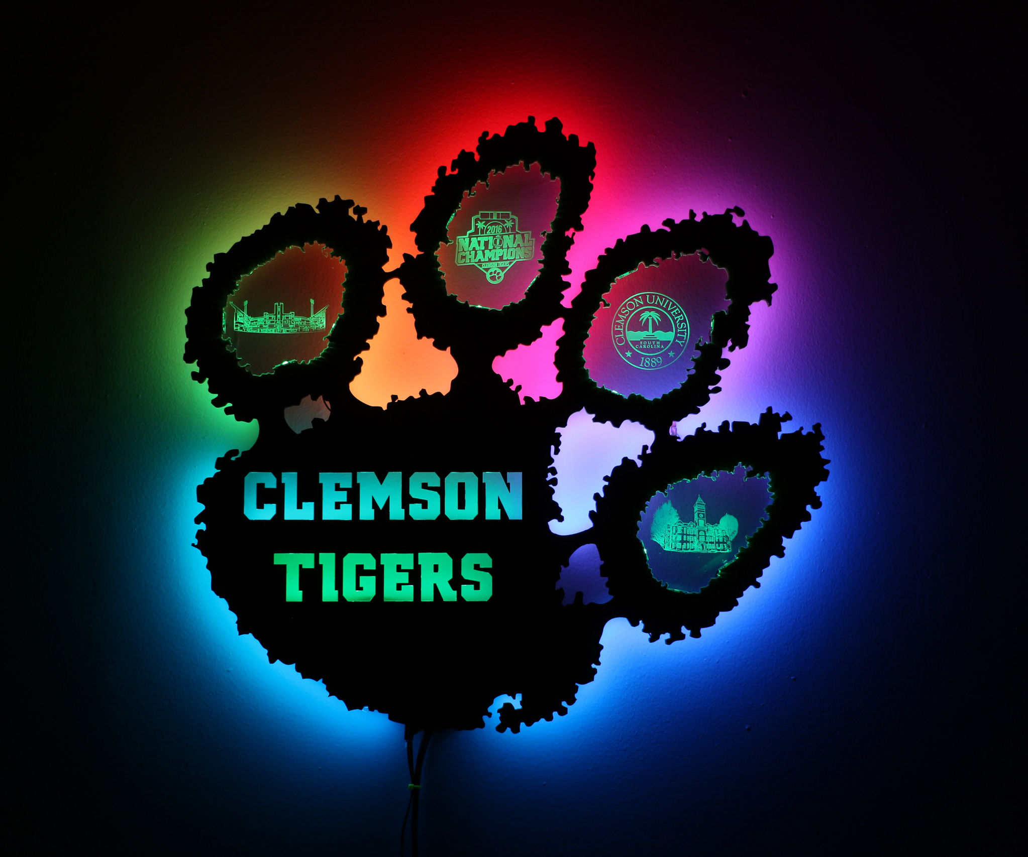 Clemson Tiger Paw Decoration Back-lit With WS2812 LED Strips