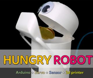 HUNGRY ROBOT - Coin Eating Robot! (3D PRINTER, ARDUINO, SENSOR, SERVO)