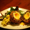 Chirizo and blackpudding scotch egg