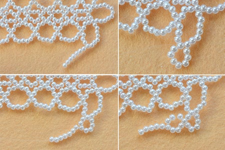 Make the Fourth Part of White Pearl Beaded Collar Necklace