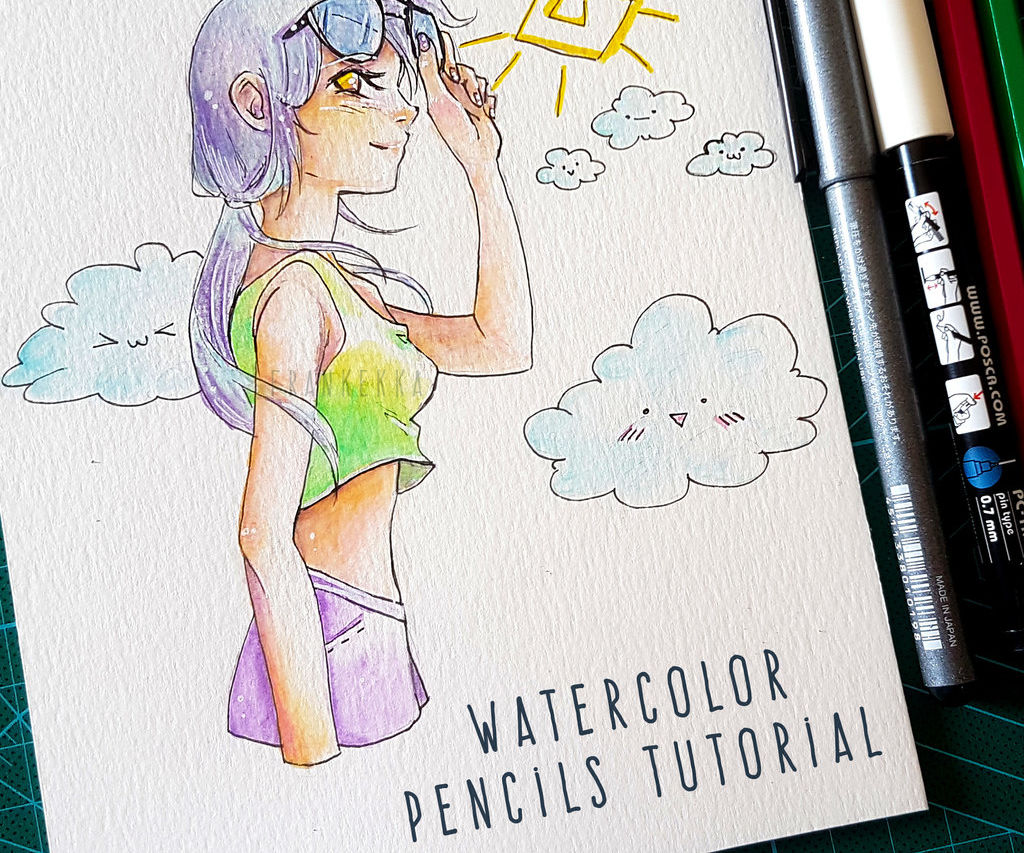 HOW TO DRAW ANIME GIRL WITH SUNGLASSES - WATERCOLOR PENCILS TUTORIAL