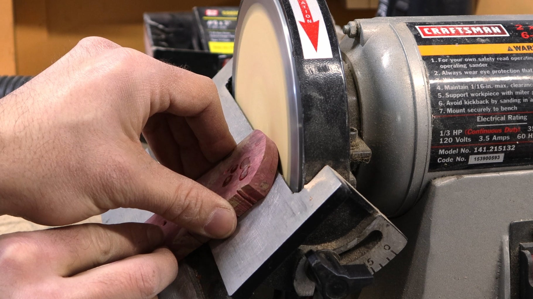 Grinding a 45 Degree Bevel on the Handles