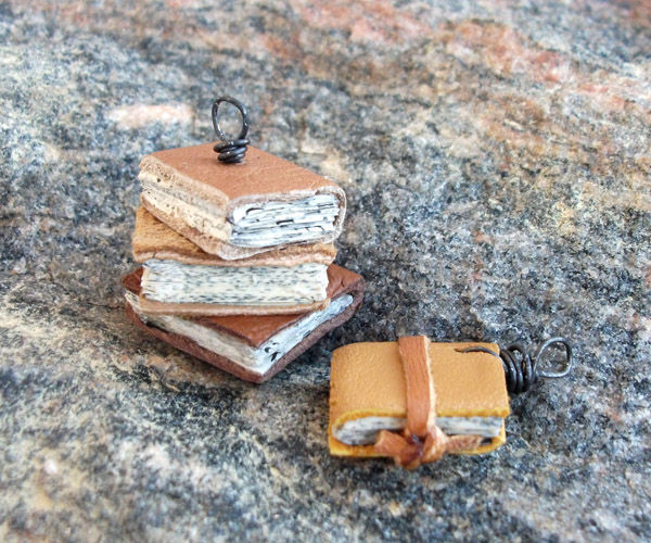 (itsy) Bitsy Books - Upcycled Leather Mini Diy Book Pendants