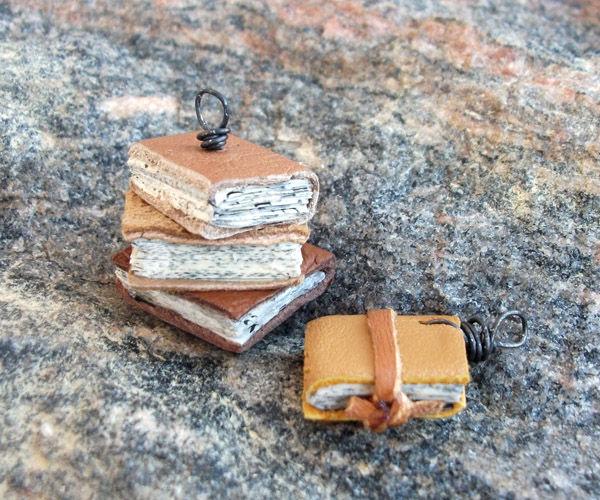 (itsy) Bitsy Books - Upcycled Leather Mini Diy Book Pendants