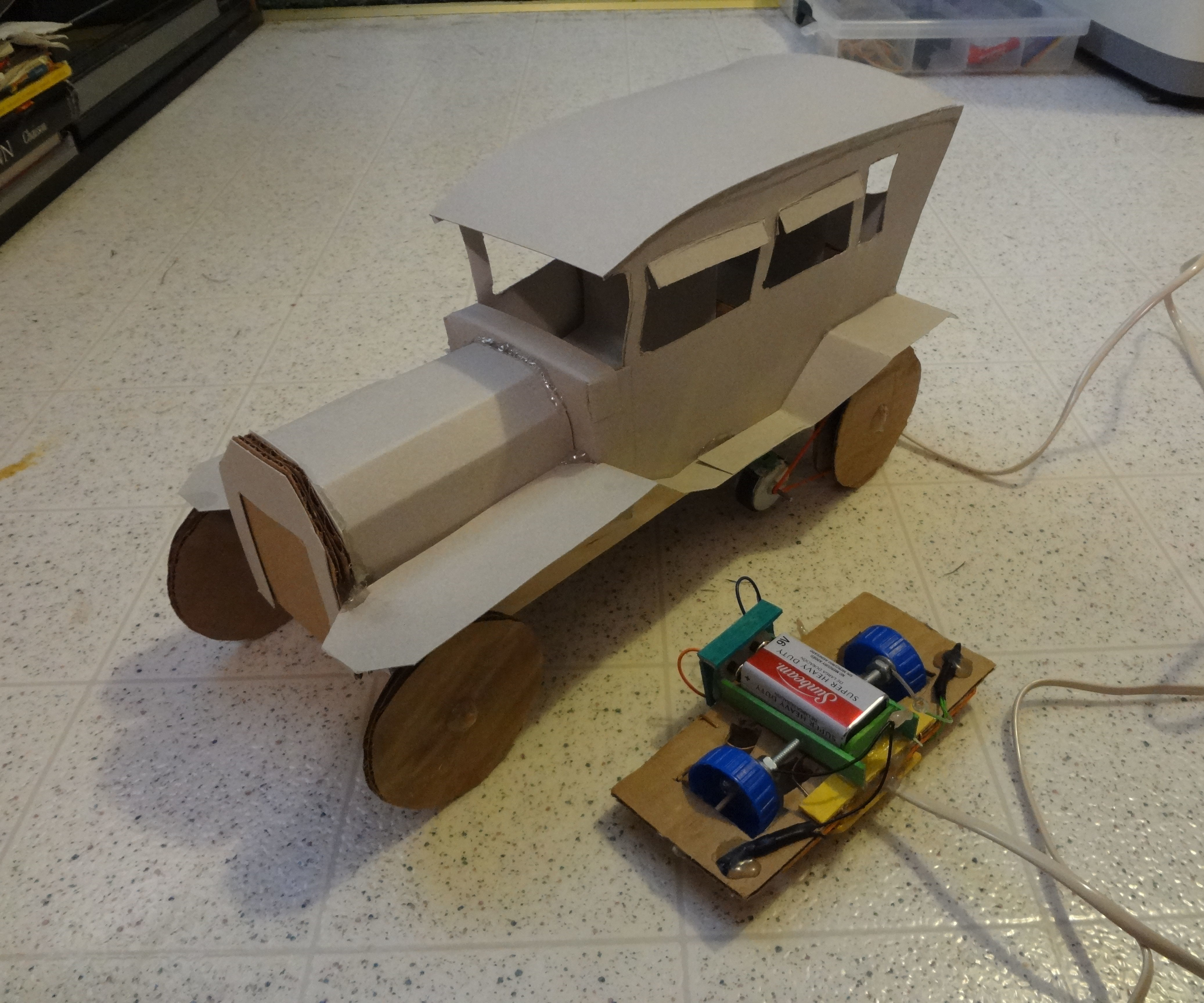 Cardboard remote controlled car.
