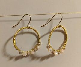 Beaded Wrapped Wire Hoop Earrings