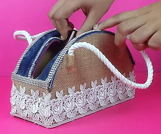 How to Make Hand Purse Using Cardboard, Denim and Jute Cloth?